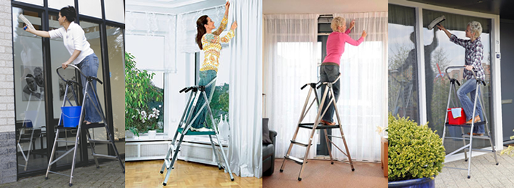 安定感抜群!窓拭きに最適の手すり付き脚立です!